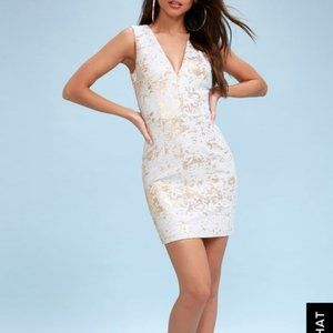 Dress the Population White/Gold bodycon